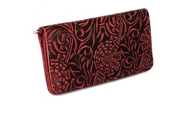Кошелёк женский Kafa черно-красный «Цветы»
