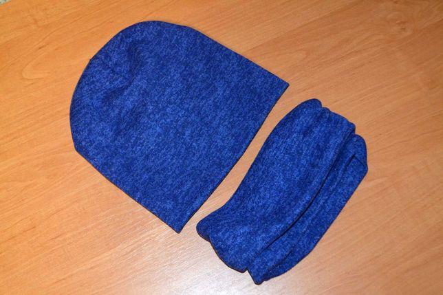 Шапка и хомут синего цвета, осень-весна, размер 54-56