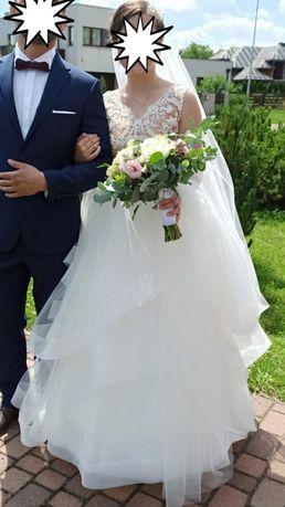 Suknia ślubna z falbanami 2020 roz. 36 162+12cm (obcas) + GRATISY