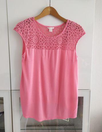 Bluzka ciążowa L różowa 40 ażurowa koszulka t-shirt ubrania odzież