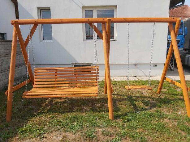 huśtawka ogrodowa drewniana 3 osobowa + huśtawka dla dziecka