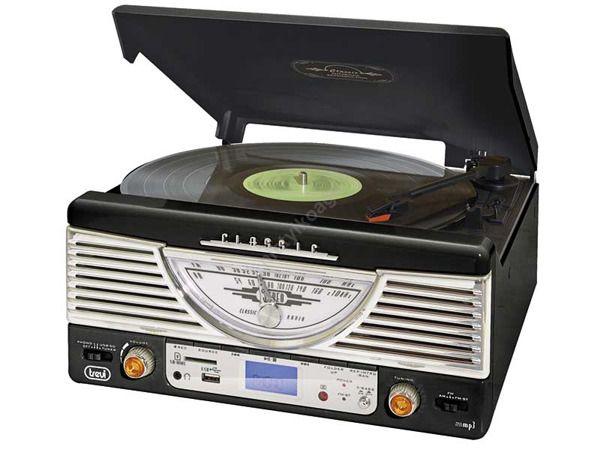Radio retro gramofon TT1062E trevi MP3 USB SD czarny