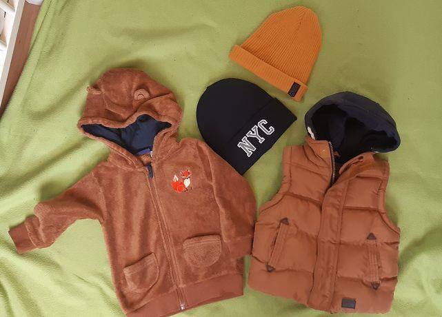 Zestaw ubrań kamizelka bluza czapki hm zara lupilu