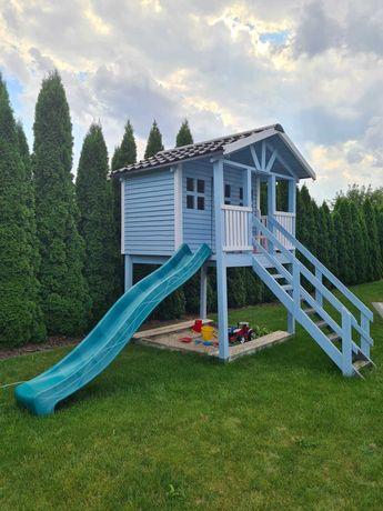 Duży domek drewniany ogrodowy dla dzieci błękitny ślizg piaskownica