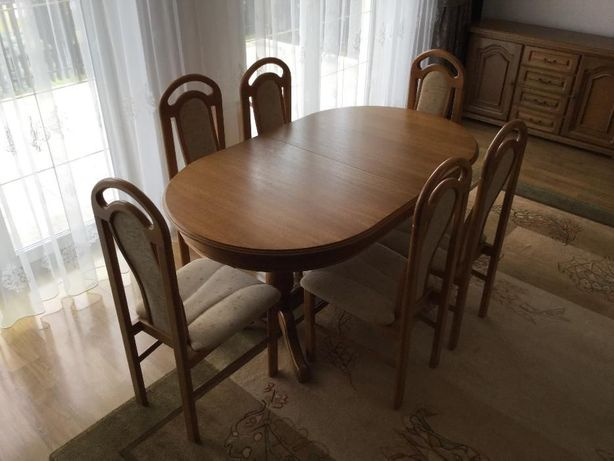 Stół owalny dębowy z naturalnego drewna - jak nowy !!