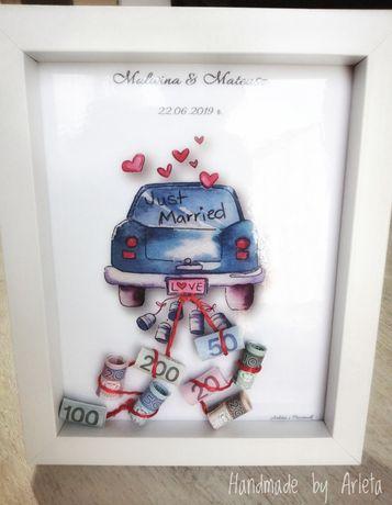 Ramka 3D, auto, prezent zamiast koperty, pieniądze, ślub/wesele