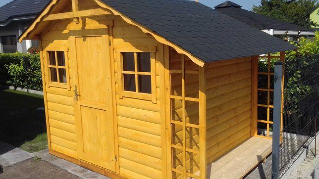 Domek drewniany ogrodowy narzędziowy drewutnia półbal domki