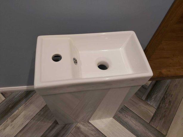 Zestaw biała szafka z umywalką 40 cm+kran+syfon UBIKACJA