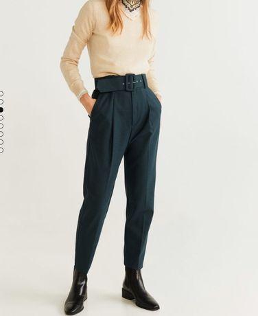 Eleganckie spodnie w kratę wysoki stan Mango 38 Święta