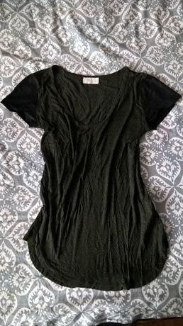 bluzka zara t-shirt S khaki skorzane rekawy