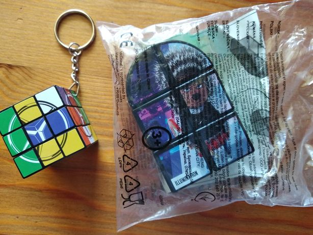 Oryginalne kostki, kostka Rubika z jeżem ASH, brelok i kostka Mercedes