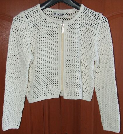 Sweter ażurowy bawełniany na zamek 36/38 Mirha