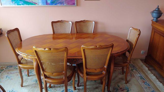 Stary drewniany stół z Francji + krzesła (barok/rokoko)