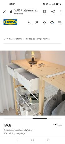 Prateleira metálica, Ivar Ikea