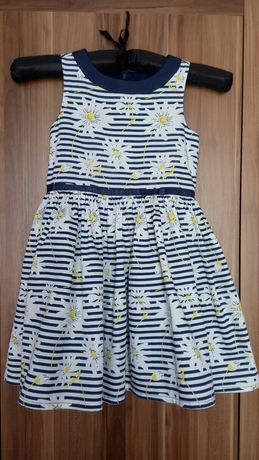 Piękna sukienka w paski i kwiaty rozm.110-116