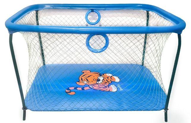 Манеж игровой KinderBox люкс с крупной сеткой Синий тигренок.