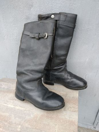 Мужские сапоги высокие ,кожаные, натуральный мех
