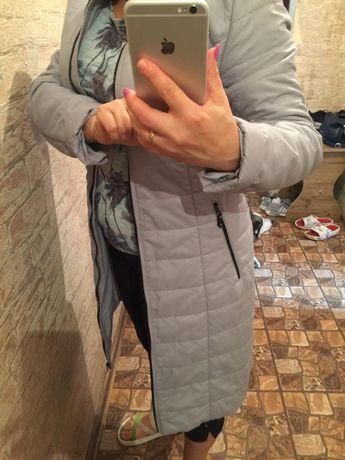 Женская серая куртка-пальто