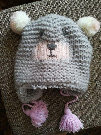 Шапка зимняя, шапочка мишка ушки глазки зима 46-48