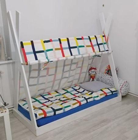 Łóżeczko łóżko tipi namiot domek 140x70 + baldachim narzuta + materac