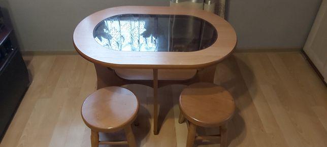 Stolik, ława plus 2 bukowe taborety/krzesełka, STAN BDB