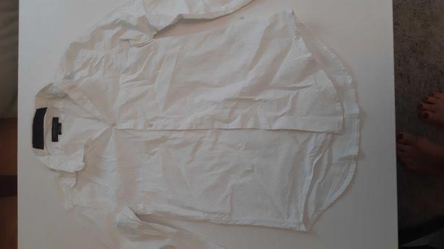 Koszula meska Zara dlugi rekaw male L biala w delikatne prążki