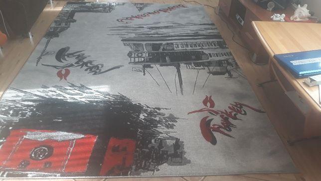 dywan młodzieżowy 2x3 m szaro czarno czerwony