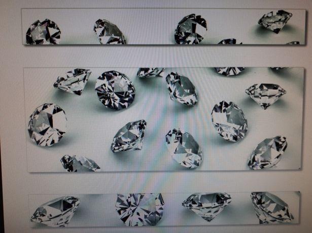 Obraz ze szkła tryptyk diamenty nowy
