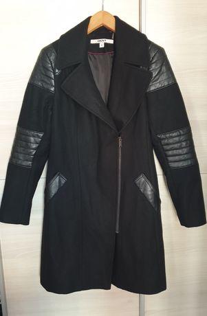 Wełniany Czarny płaszcz DKNY 38