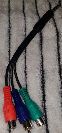 Adapter, przejściówka, kabel 3 RCA Chinch / Wtyk Mini Jack 3.5 NOWY