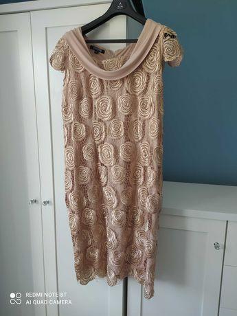 Złoto-beżowa sukienka-koronka