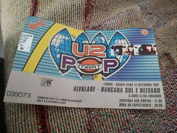 1 Bilhete U2 Alvade anos 90