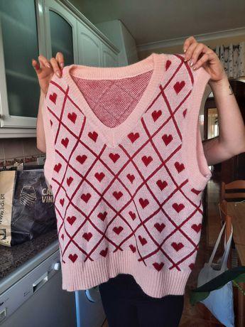 Colete de malha Shein tamanho único novo rosa com corações