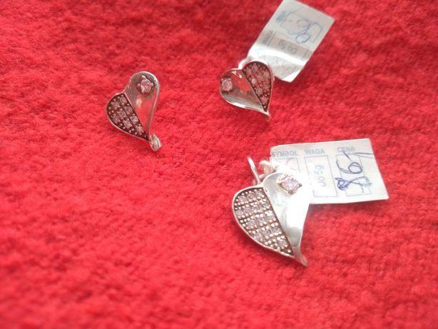 Piękny zestaw biżuterii srebrnej z cyrkoniami!