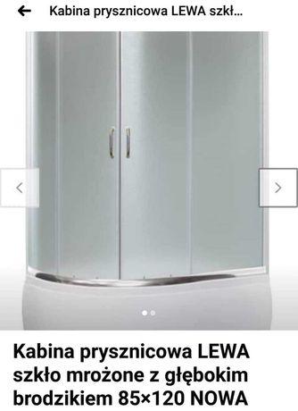 Kabina prysznicowa z głębokim brodzikiem szkło mrożone 85x120 NOWA