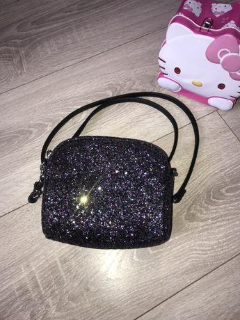 Сумка,сумочка на/через плечо для девочки блестящая черная сумка