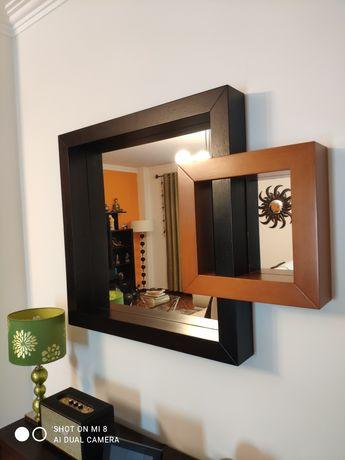 Espelho emoldurado Wenge/Cerejeira