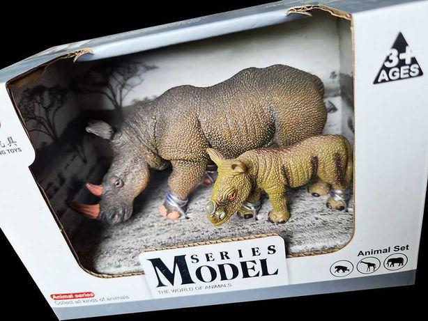 Komplet figurek winylowych Nosorożec z młodym zabawki dla dzieci