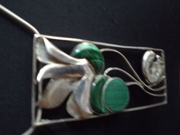 Broszka -Wisior srebrny Art deco z malachitami