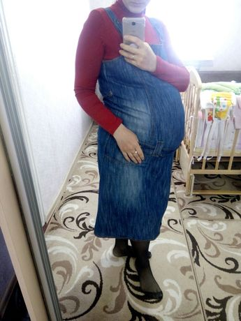 Джинсовый сарафан платье для беременных