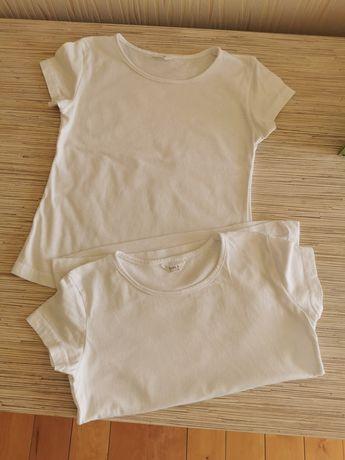 Bluzki białe t-shirt, 122-128, może dla bliźniaczek, 2 szt