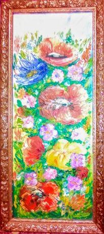 Картина Маки, ДВП, 45*19 см, масло, с багетом