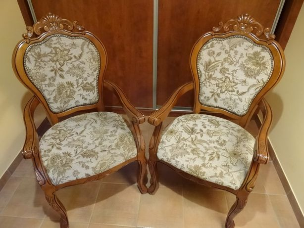 2 stylowe krzesła tapicerowane typ fotela - komplet