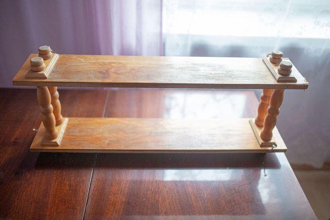 Regał wiszący drewniany vintage PRL