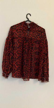 blusa padrão leopardo zara