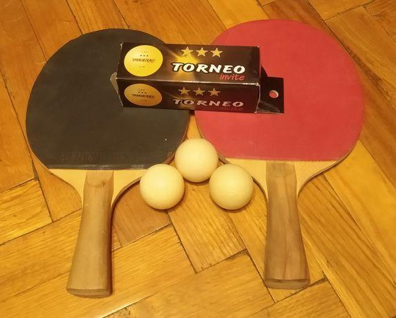 Теннисные ракетки для настольного тенниса шарики мячики torneo набор