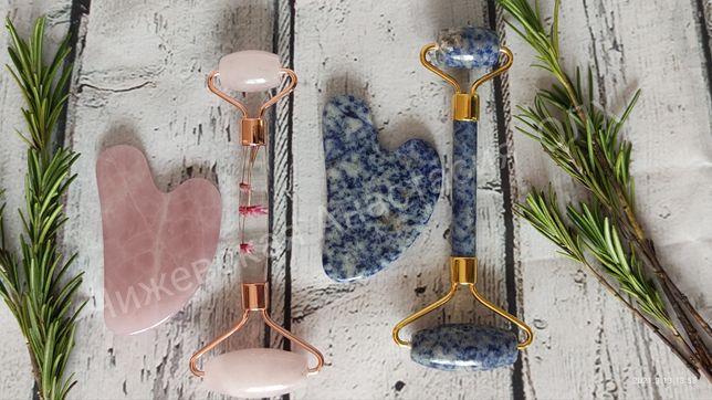 Подарочный набор для массажа гуаша (розовый кварц, содалит,авантюрин)