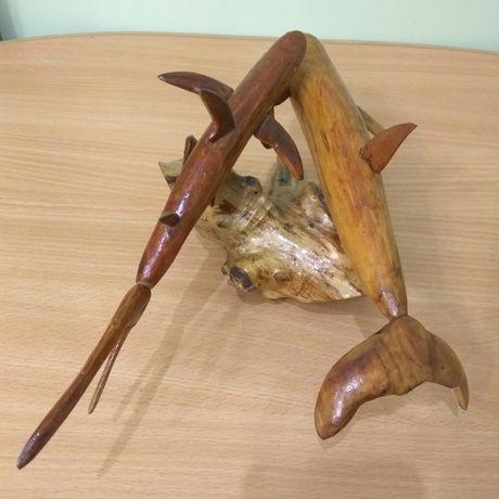 Резьба по дереву Рыбы Дельфин Акула Декор Поделка Сувенир Подарок