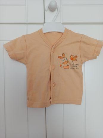 Koszulka dziewczęca krótki rękaw roz. 62 #króliczek #kura #morelowy #b