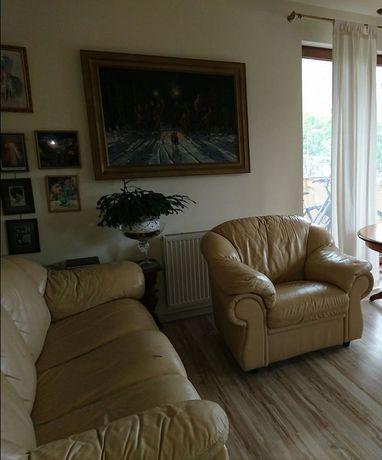 Skórzany komplet - kanapa i dwa fotele